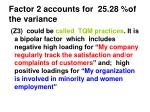 factor 2 accounts for 25 28 of the variance
