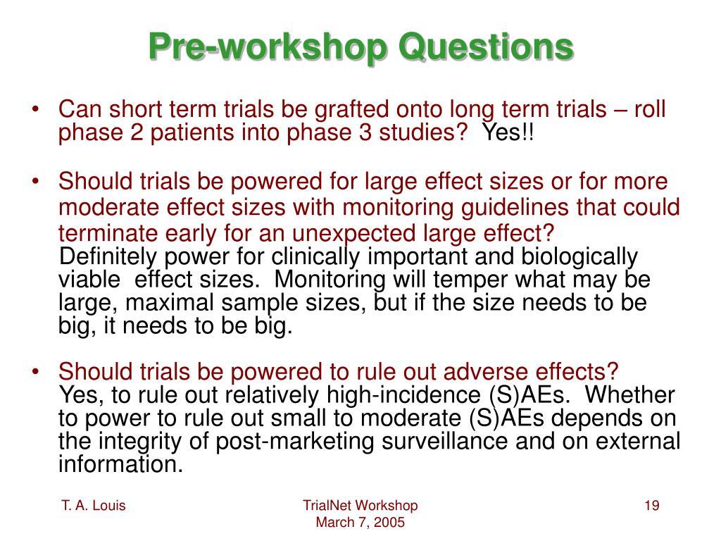 Pre-workshop Questions