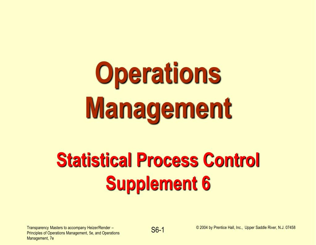 operations management statistical process control supplement 6 l.