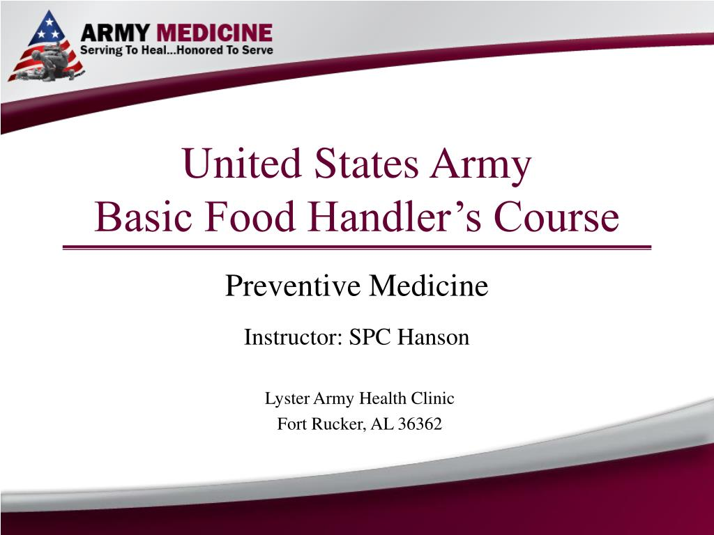 united states army basic food handler s course l.