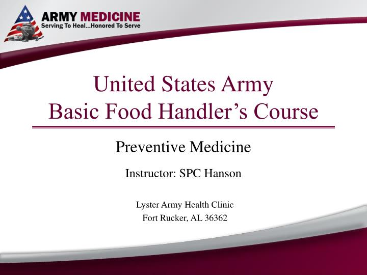united states army basic food handler s course n.