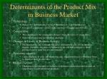 determinants of the product mix in business market