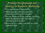 product development and strategy in business marketing