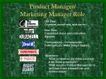 product manager marketing manager role