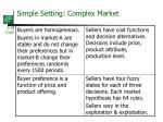 simple setting complex market22