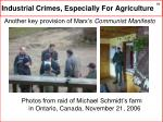 industrial crimes especially for agriculture