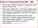 infants on pasteurized human milk 1986