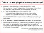 listeria monocytogenes deadly food pathogen