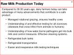 raw milk production today