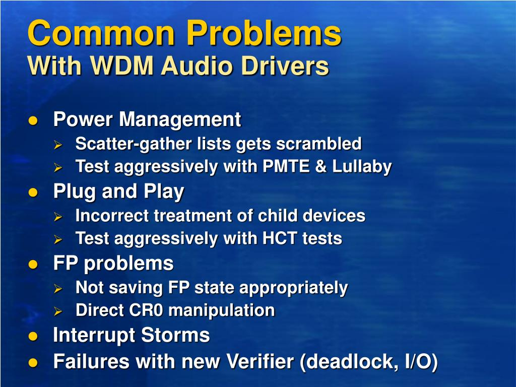 PPT - New Developments in WDM Audio Drivers in Windows XP