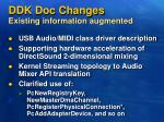 ddk doc changes existing information augmented
