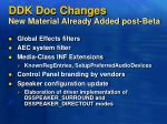 ddk doc changes new material already added post beta
