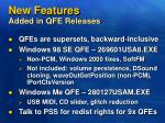 new features added in qfe releases