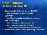 new features added in windows me