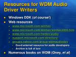 resources for wdm audio driver writers