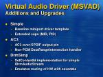 virtual audio driver msvad additions and upgrades