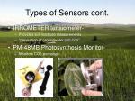 types of sensors cont