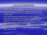 clinical eligibility
