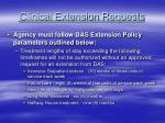 clinical extension requests