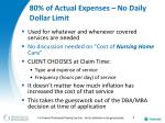 80 of actual expenses no daily dollar limit