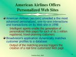 american airlines offers personalized web sites