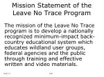 mission statement of the leave no trace program28