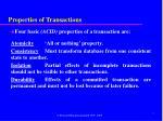 properties of transactions