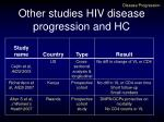 other studies hiv disease progression and hc