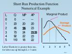 short run production function numerical example