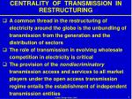 centrality of transmission in restructuring