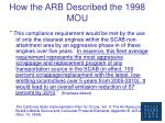 how the arb described the 1998 mou