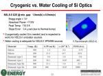 cryogenic vs water cooling of si optics