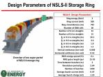 design parameters of nsls ii storage ring