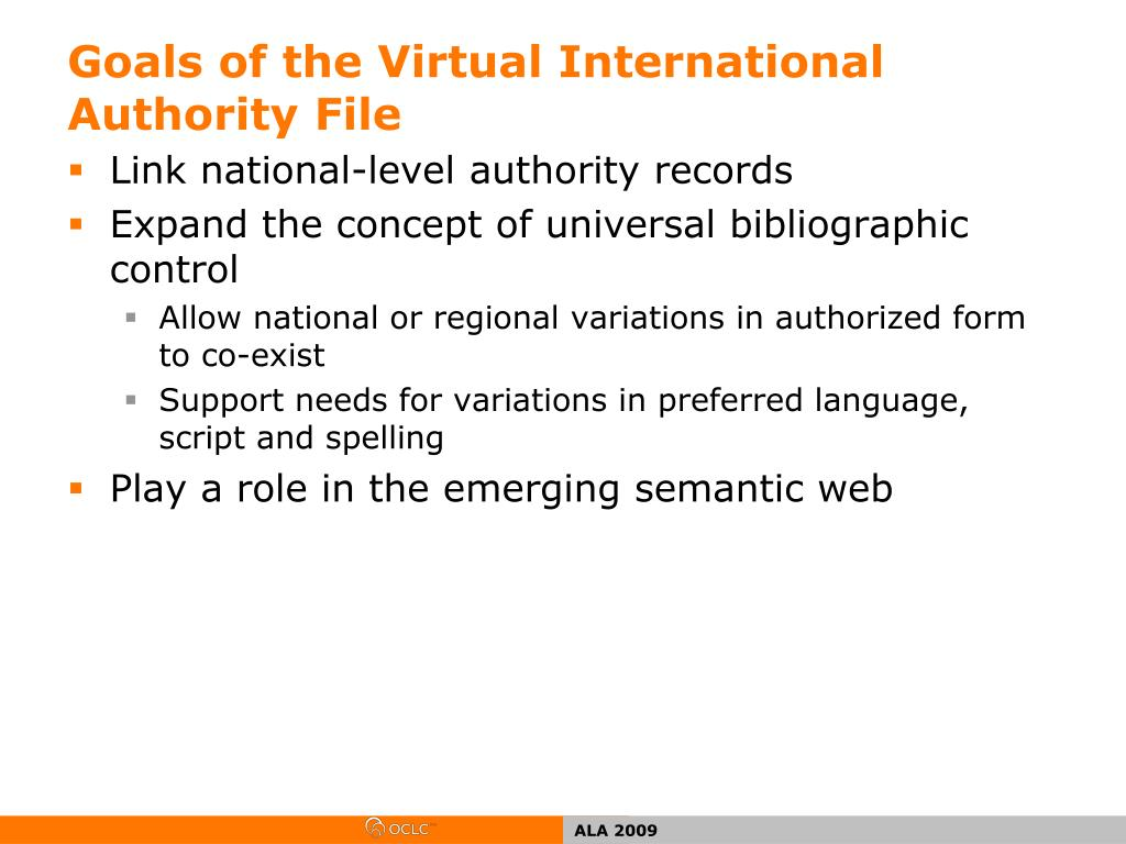 Goals of the Virtual International Authority File
