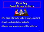 first day small group activity