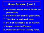 group behavior cont
