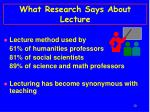 what research says about lecture