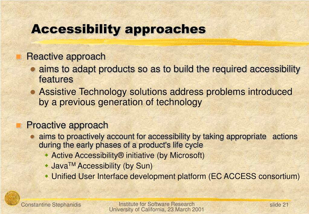 Accessibility approaches