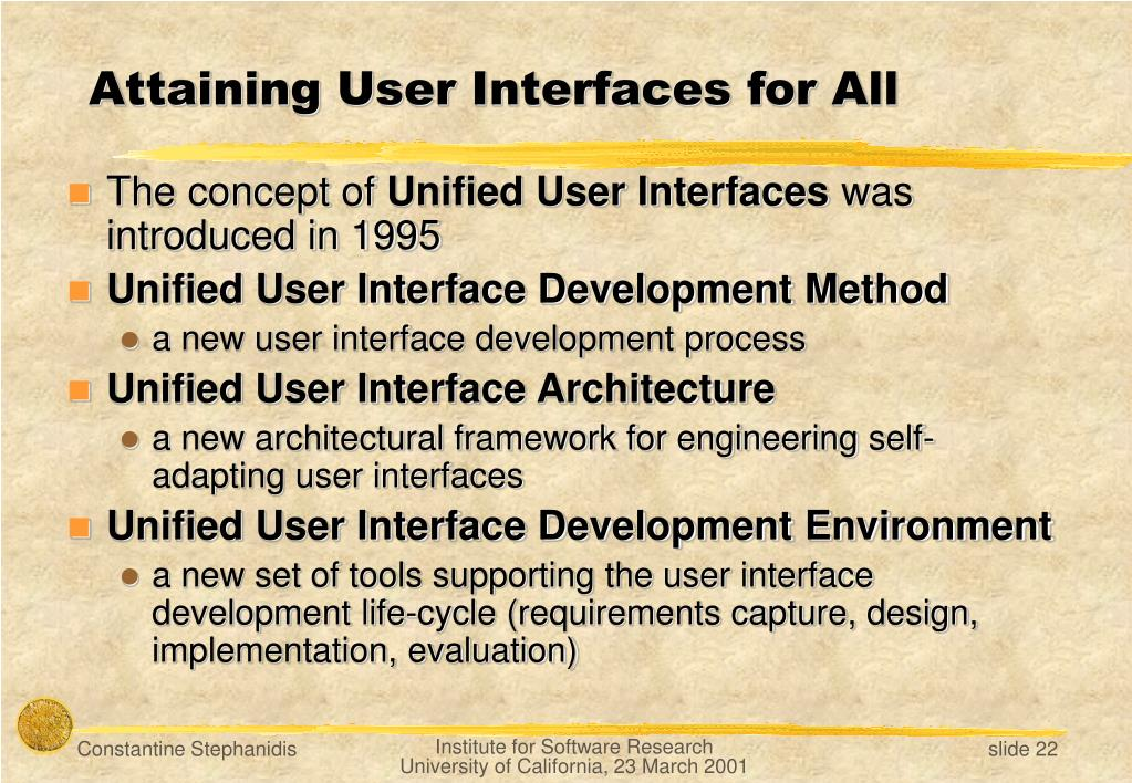 Attaining User Interfaces for All