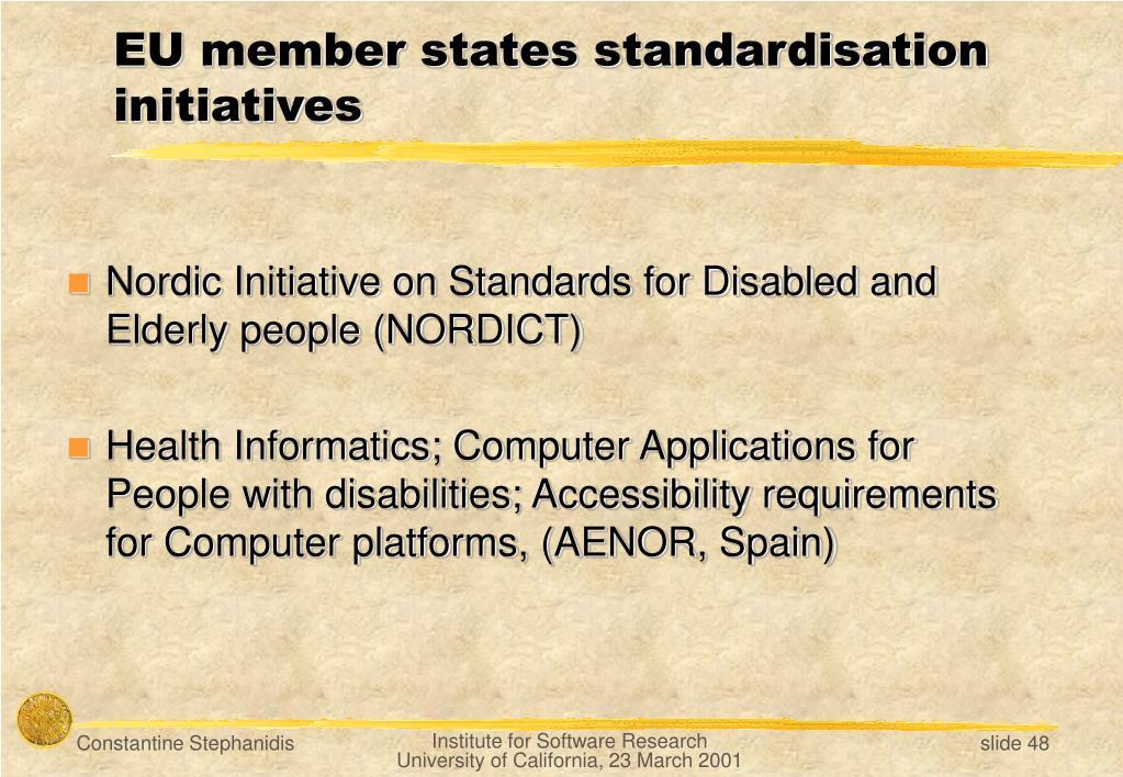 EU member states standardisation initiatives