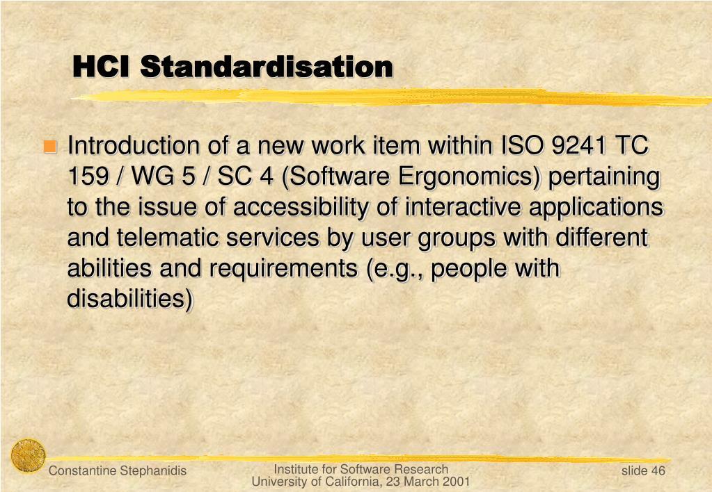 HCI Standardisation
