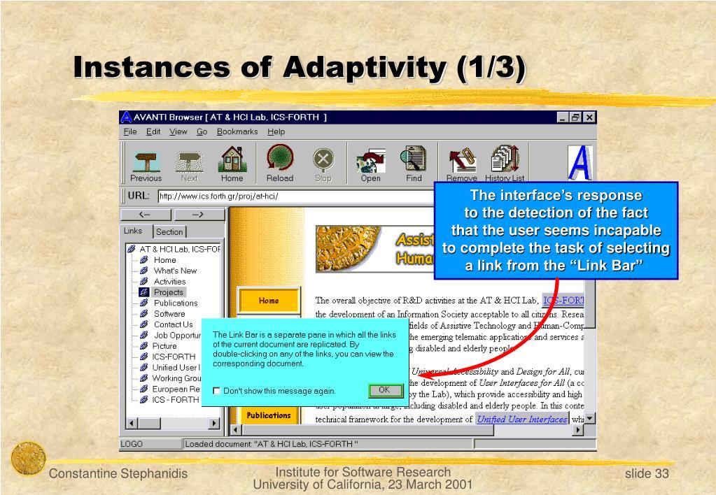 Instances of Adaptivity (1/3)