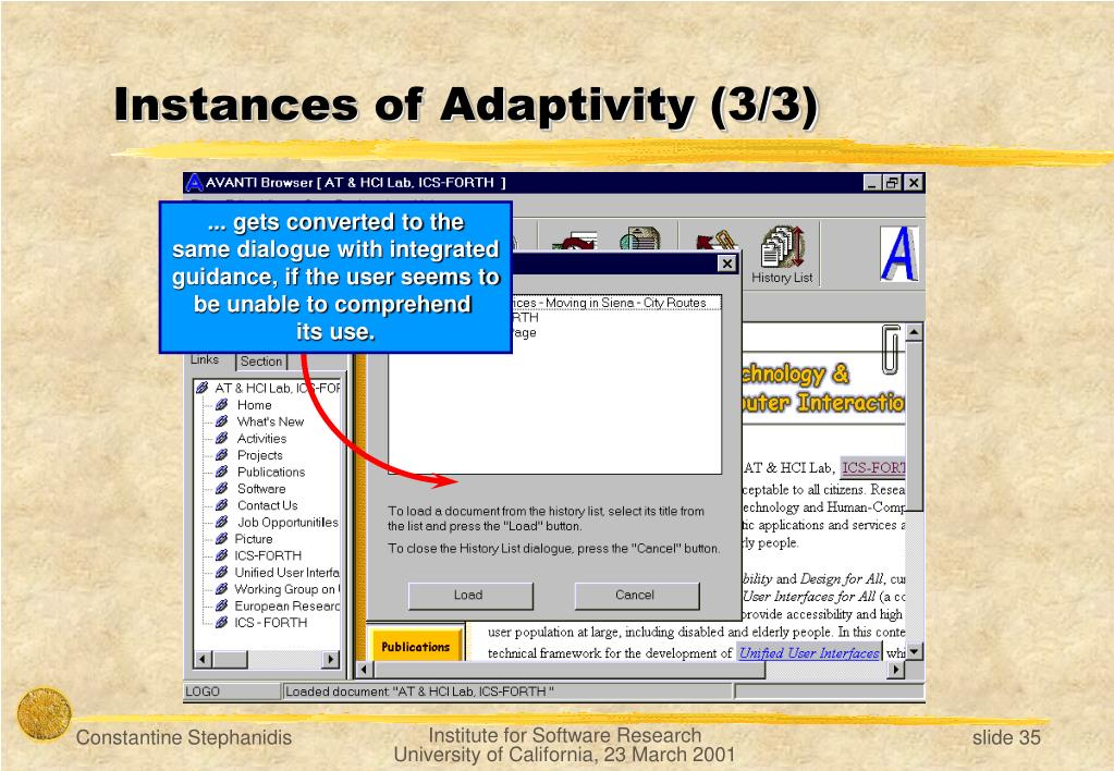Instances of Adaptivity (3/3)