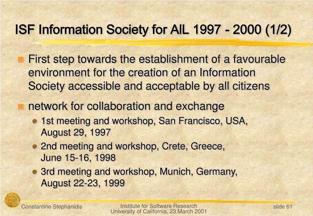 ISF Information Society for AlL 1997 - 2000 (1/2)