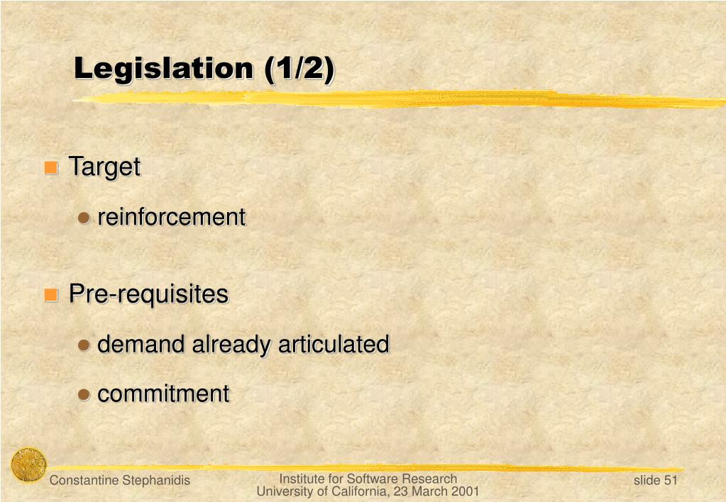 Legislation (1/2)