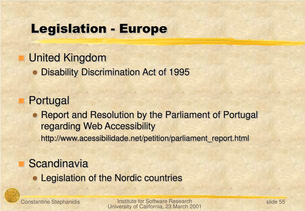 Legislation - Europe