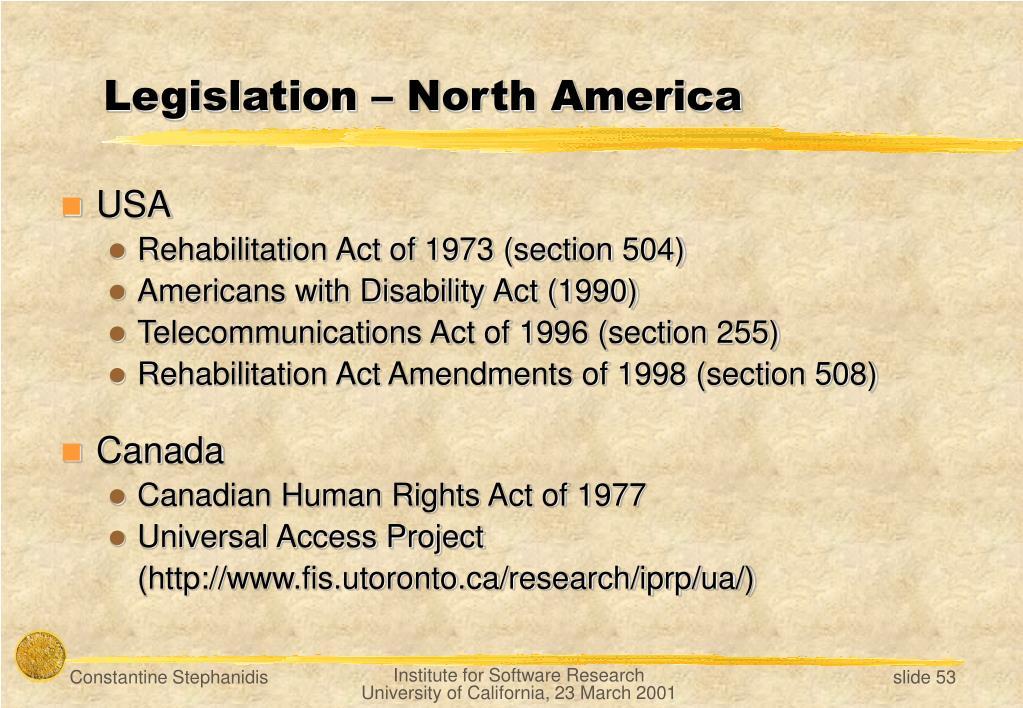 Legislation – North America