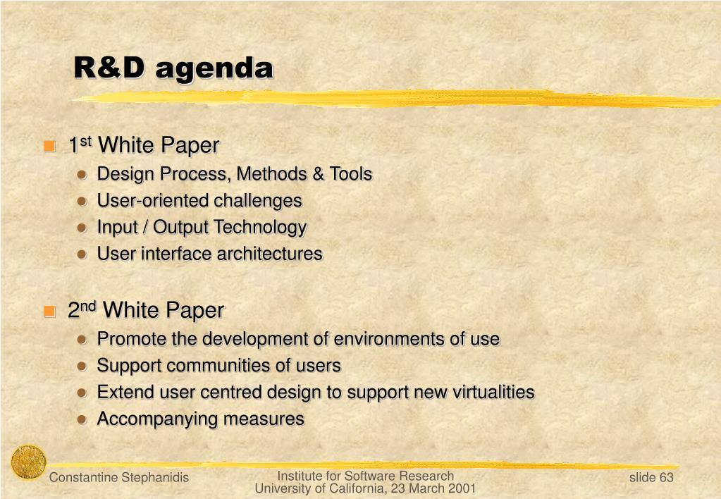 R&D agenda