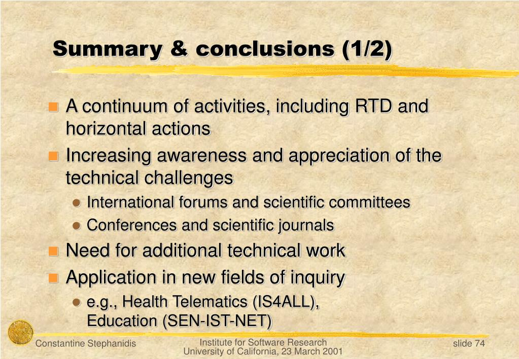Summary & conclusions (1/2)