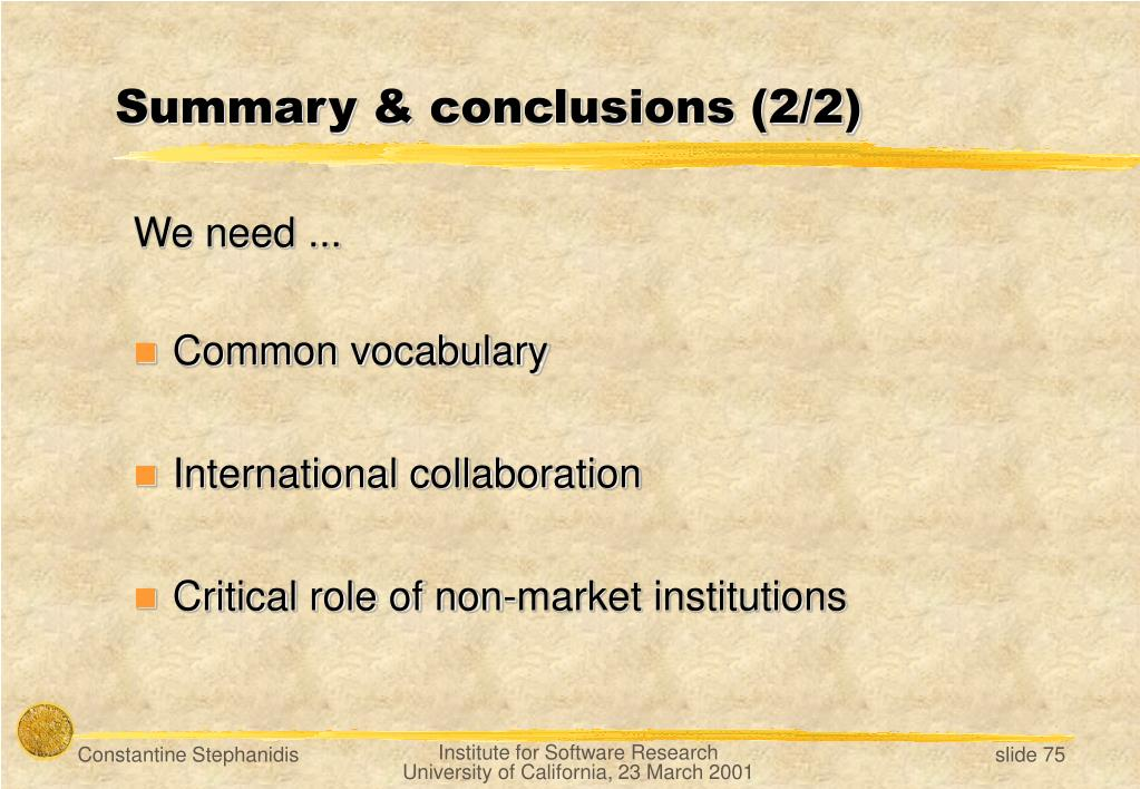 Summary & conclusions (2/2)